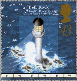 Bell Rock Lighthouse, Arbroath stamp, from the Lighthouses issue, 1998
