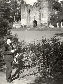 Postman at Tonbridge Castle, 1935