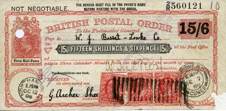 Postal order for 15/6 purchased by George Archer-Shee