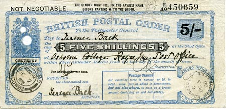 5 shilling postal order stolen from Terrence Back