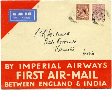 Commemorative envelope carried on the first airmail flight to Karachi, 1929