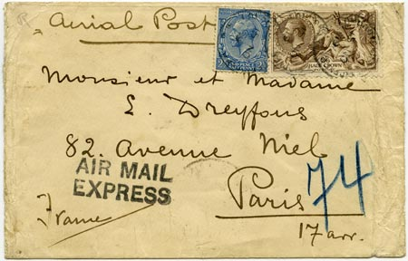 """Airmail letter to Paris with """"Air Mail Express"""" cachet"""