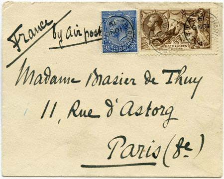 """Cover from the first airmail flight to Paris showing """"By Air Mail"""" written by hand"""