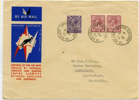 First flight cover England to Australia, 1934