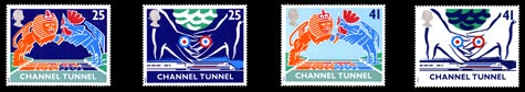 Opening of the Channel Tunnel, 1994. Similar designs were also issued in France.