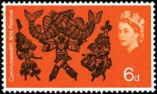 Trinidad Carnival Dancers on a stamp issued to commemorate the Commonwealth Arts Festival, 1965. (Designers: David Gentleman and Rosalind Dease)