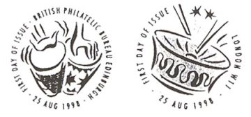 Special First Day of Issue Postmarks which accompanied the Notting Hill Carnival stamps. They show Djembe drums and a Steel drum