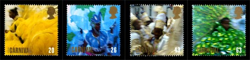 Four stamps issued in 1998 commemorating the Notting Hill Carnival