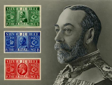 The fifth London 2010: Festival of Stamps postcard, featuring stamps produced for the Silver Jubilee of King George V in 1935.