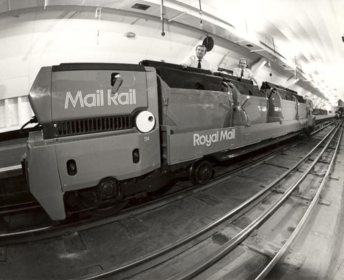 One of the trains with Mail Rail livery