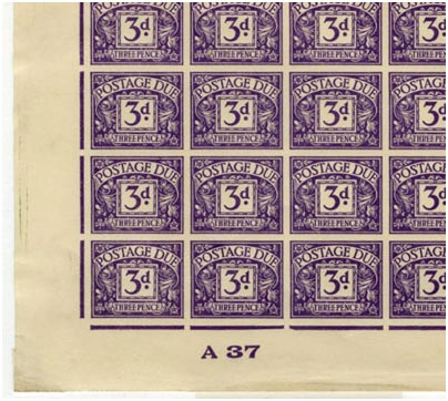 KEVIII 3d postage due labels, registration sheet, imperforate, 1937