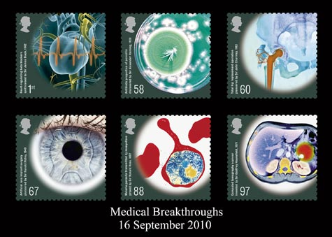 Medical Breakthroughs stamp issue (designer: Howard Brown)
