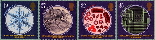 150th Anniversary of Royal Microscopical Society issue, 1989 (designer: Keith Bassford)