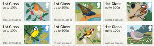 Post and Go Garden Birds stamps