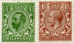 """The unpopular """"Downey Head"""" (left), the frame of which was designed by Bertram Mackennal and G.W. Eve. George V disliked the three-quarter profile and the replacement """"Profile Head"""" (right) was issued the following year. The """"Profile Head"""" effigy of George V was designed by Mackennal and the frame by Eve."""