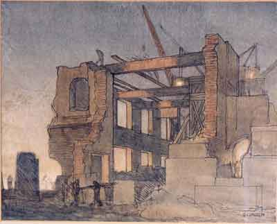 Pen and wash by Sir George Clausen RA, 1913, showing the demolition of GPO East