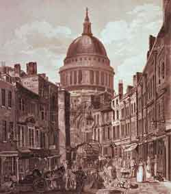 This engraving shows St Martins Le Grand before the construction of the Post Office.