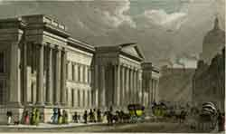Hand-coloured engraving showing the new building around 1829.