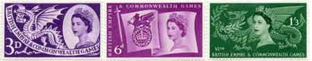 1958 British Empire and Commonwealth Games, Cardiff commemorative stamps
