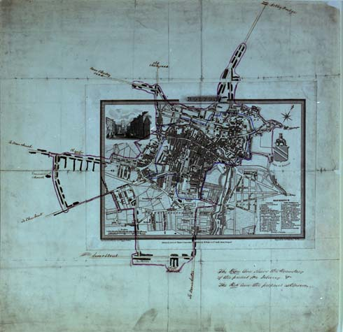 Postal map of Bolton, 1824, from the Royal Mail Archive (POST 21/111)