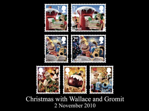 This year's Christmas stamps featuring Wallace and Gromit
