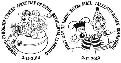 Special Wallace and Gromit first day of issue postmarks