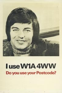 TV and radio personality Tony Blackburn helps to promote postcodes (c. 1980)