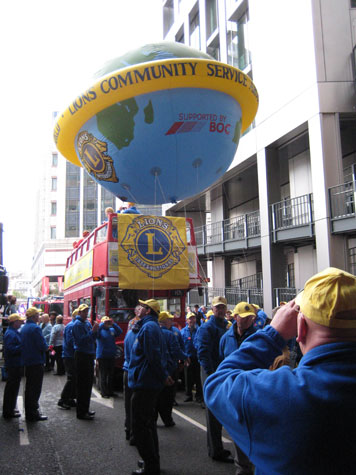 Lions Club International had a huge inflatable Earth on their float.