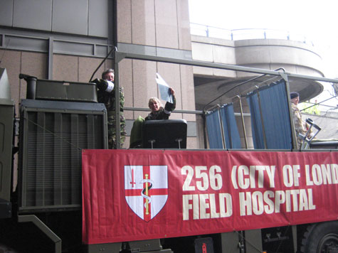 The London Field Hospital move off in the parade.