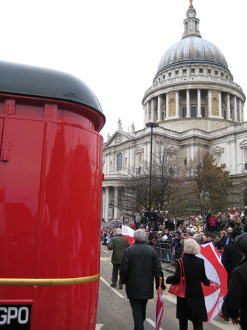 There were big crowds watching the parade near St Pauls Cathedral, including many in specially erected stands.