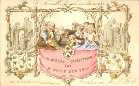 Christmas card consisting of a lithograph on card with a rustic trellis dividing the card into three scenes.