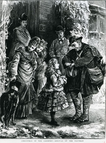 Illustration of a family standing outside their home with the postman