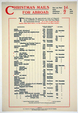 Notice: Christmas Mails for Abroad (20th Century)
