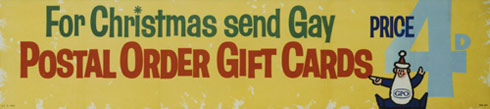 For Christmas send gay Postal Order gift cards. 4d each with envelope (1961)