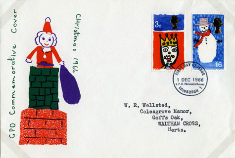 First Day Cover for Britain's first Christmas stamps (1966)