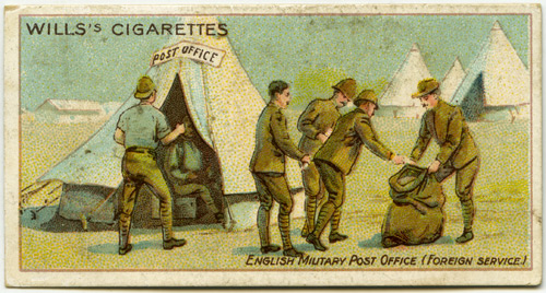 Number 31 of a series of 50 Wills cigarette cards, entitled 'English Military Post Office (Foreign Service)'