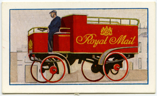 Number 16 of the 'Romance of the Royal Mail' series entitled 'An Early Mail Van'