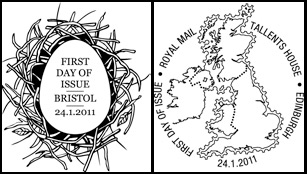 The first day of issue postmarks which accompany the second set of Post & Go stamps