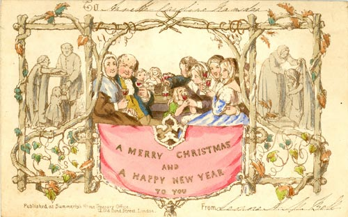 An example of the first Christmas card from our collection, sent by Leonore A N Bell to Annette Caroline Ramsden