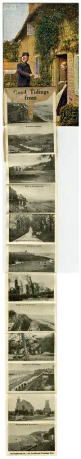 Pull-out postcard from Cromer, with a concertina of mini photographs, 1921