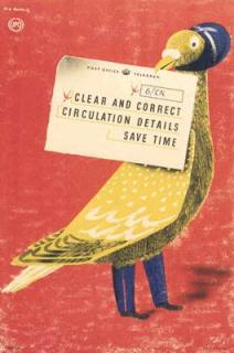 Clear and correct circulation details save time: an internal GPO poster promoting clear and correct detailing on telegrams. Circa 1950.