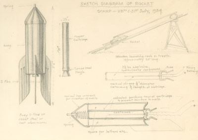 Sketch diagram of rocket, 1934