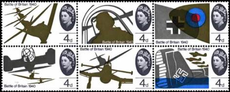 The six 4d Battle of Britain se tenant stamps designed by David Gentleman and Rosalind Dease. The two other stamps in this issue showed anti-aircraft artillery, and an air battle over St Pauls cathedral. They were designed by Andrew Restall, and Gentleman and Dease, respectively.