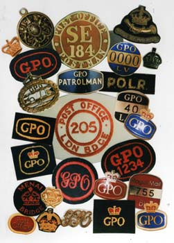 Some of the many badges worn by GPO and Royal Mail employees over the years