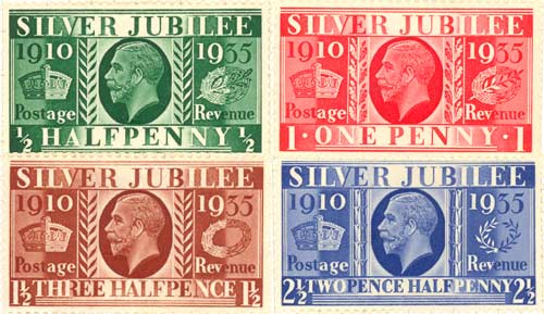 George V Silver Jubilee stamps by Barnett Freedman