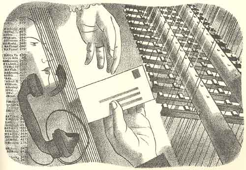 A Barnett Freedman illustration from The Post Office: A review of the activities of the Post Office 1934
