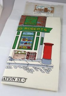 This Coronation Street tea-towel was disposed of as it is not directly relevant to the collection.