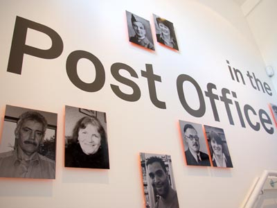 The stairwell leading up to The Post Office in the Community exhibition
