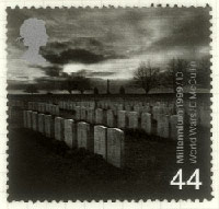 War Graves Cemetery, The Somme as seen on a stamp in 1999