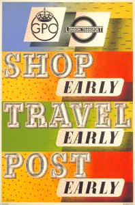 'Shop early, travel early, post early' by Barnett Freedman, 1938 (London Transport reference number: 1983/4/10354. Image © London Transport Museum).